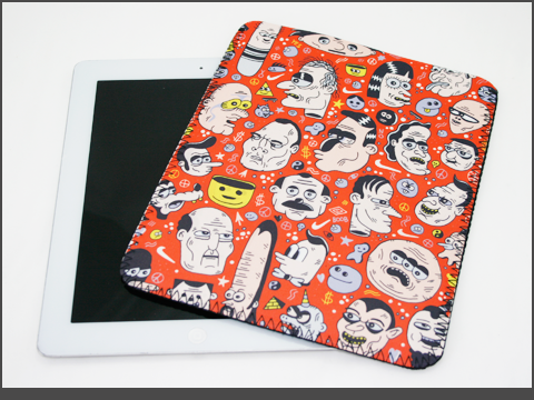 b- iPad  - Neoprene Sleeve - doodles2-a