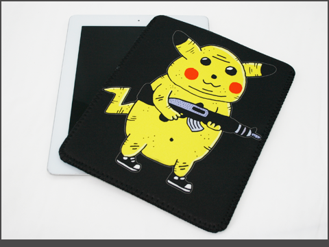 b- iPad  - Neoprene Sleeve - pikachu-black