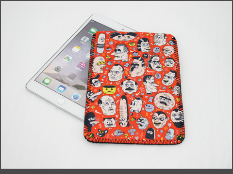 b-iPad  mini- Neoprene Sleeve -doodles2b